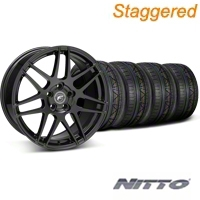 Forgestar Staggered F14 Piano Black Wheel & NITTO INVO Tire Kit - 19x9/10 (05-14 All) - Forgestar 29620||29621||79520||79521||KIT