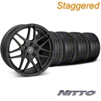Staggered Black Forgestar F14 Wheel & Nitto Invo Tire Kit - 19x9/10 (05-14 All) - Forgestar KIT||29604||29605||79520||79521