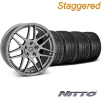 Forgestar Staggered F14 Gunmetal Wheel & NITTO INVO Tire Kit - 19x9/10 (05-14 All) - Forgestar 29612||29613||79520||79521||KIT