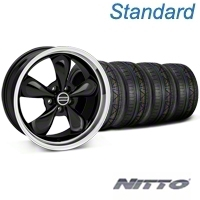 Bullitt Black Wheel & NITTO INVO Tire Kit - 19x8.5 (05-14 GT, V6) - American Muscle Wheels KIT28247