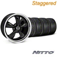 Staggered Black Bullitt Wheel & NITTO Invo Tire kit - 19x8.5/10 (05-14 All) - AmericanMuscle Wheels KIT28247||28248||79520||79521