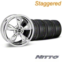 Staggered Chrome Bullitt Wheel & NITTO Invo Tire Kit - 19x8.5/10 (05-14 All) - AmericanMuscle Wheels KIT28249||28250||79520||79521