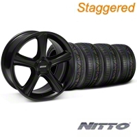 Staggered GT Premium Black Wheel & NITTO INVO Tire Kit - 19x8.5/10 (05-14 All) - American Muscle Wheels 28233||79520||79521||KIT28230