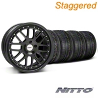 TSW Staggered Valencia Matte Black Wheel & NITTO INVO Tire Kit - 19x8/9.5 (05-14 All) - TSW 33613||33614||79520||79521||KIT