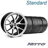 Black Machined FR500 Wheel & NITTO Tire Kit - 17x9 (05-14 All) - AmericanMuscle Wheels KIT||28380||76011