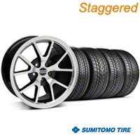 Staggered Black Machined FR500 Wheel & Sumitomo Tire Kit - 17x9/10.5 (99-04 All) - AmericanMuscle Wheels KIT||28380||28381||63000||63003