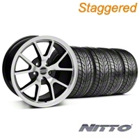 Staggered Black Machined FR500 Wheel & NITTO Tire Kit - 17x9/10.5 (99-04 All) - AmericanMuscle Wheels KIT||28380||28381||76000||76014