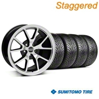 Staggered Black Machined FR500 Wheel & Sumitomo Tire Kit - 18x9/10 (99-04 All) - AmericanMuscle Wheels KIT||28382||28383||63006||63016