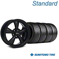 Bullitt Solid Black Wheel & Sumitomo Tire Kit - 18x8 (05-14 GT, V6) - American Muscle Wheels KIT