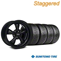 Staggered Bullitt Solid Black Wheel & Sumitomo Tire Kit - 18x9/10 (05-14 GT, V6) - American Muscle Wheels 28481||28485||63008||63009||KIT