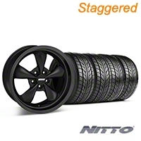 Staggered Bullitt Solid Matte Black Wheel & NITTO Tire Kit - 18x9/10 (05-10 GT; 05-14 V6) - American Muscle Wheels 28484||28486||76009||76010||KIT
