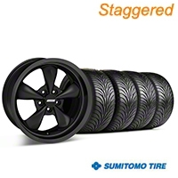 Staggered Solid Matte Black Bullitt Wheel Kit & Sumitomo Tire Kit 18x9/10 (05-10 GT; 05-14 V6) - AmericanMuscle Wheels KIT||28486||28484||76009||76010