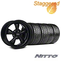 Staggered Bullitt Solid Black Wheel & NITTO Tire Kit - 17x9/10.5 (99-04 All) - American Muscle Wheels 28479||28480||76000||76014||KIT