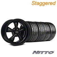 Staggered Bullitt Solid Black Wheel & NITTO Tire Kit - 18x9/10 (94-98 All) - American Muscle Wheels 28481||28482||76002||76003||KIT