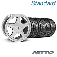 Chrome Pony Style Wheel & NITTO Tire Kit- 17x9 (87-93; Excludes 93 Cobra) - AmericanMuscle Wheels KIT||99382||76004