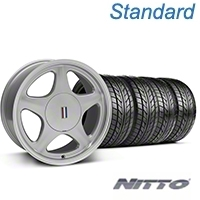 Silver w/Machined Lip Pony Style Wheel & NITTO Tire Kit- 17x9 (87-93; Excludes 93 Cobra) - AmericanMuscle Wheels KIT||99381||76004