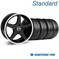 Black w/ Machined Lip 1995 Style Cobra R Wheel & Sumitomo All Season Tire Kit- 17x8 (87-93; Excludes 93 Cobra) - AmericanMuscle Wheels KIT||28313||63033