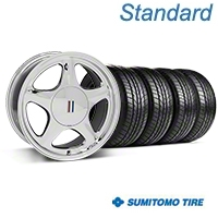 Chrome Pony Style Wheel & Sumitomo All Season Tire Kit- 17x8 (87-93; Excludes 93 Cobra) - AmericanMuscle Wheels KIT||99379||63033