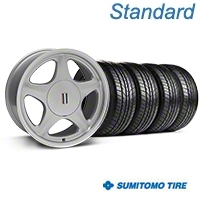 Silver w/Machined Lip Pony Style Wheel & Sumitomo All Season Tire Kit- 17x8 (87-93; Excludes 93 Cobra) - AmericanMuscle Wheels KIT||99378||63033