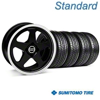 Black SC Style Wheel & Sumitomo All Season Tire Kit- 17x8 (87-93; Excludes 93 Cobra) - AmericanMuscle Wheels KIT||10090||63033