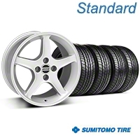 Silver 1995 Style Cobra R Wheel & Sumitomo All Season Tire Kit- 17x9 (87-93; Excludes 93 Cobra) - AmericanMuscle Wheels KIT||28377||63033