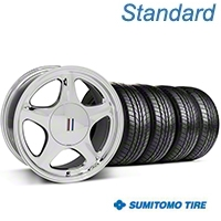 Chrome Pony Style Wheel & Sumitomo All Season Tire Kit- 17x9 (87-93; Excludes 93 Cobra) - AmericanMuscle Wheels KIT||99382||63033