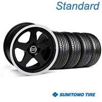 Black SC Style Wheel & Sumitomo All Season Tire Kit- 17x9 (87-93; Excludes 93 Cobra) - AmericanMuscle Wheels KIT||10078||63033