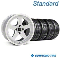 Silver SC Style Wheel & Sumitomo All Season Tire Kit- 17x9 (87-93; Excludes 93 Cobra) - AmericanMuscle Wheels KIT||10092||63033