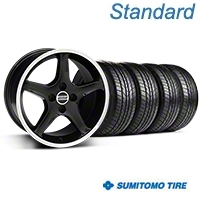 Black w/Machined Lip 1995 Style Cobra R Wheel & Sumitomo Tire Kit- 17x9 (87-93; Excludes 93 Cobra) - AmericanMuscle Wheels KIT||28378||63010