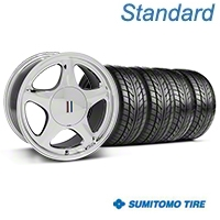 Chrome Pony Style Wheel & Sumitomo Tire Kit- 17x9 (87-93; Excludes 93 Cobra) - AmericanMuscle Wheels KIT||99382||63010