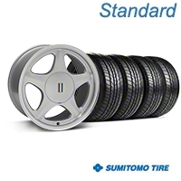 Silver w/Machined Lip Pony Style Wheel & Sumitomo Tire Kit- 17x9 (87-93; Excludes 93 Cobra) - AmericanMuscle Wheels KIT||99381||63010
