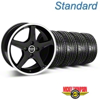 Black w/ Machined Lip 1995 Style Cobra R Wheel & Mickey Thompson Tire Kit- 17x8 (87-93; Excludes 93 Cobra) - AmericanMuscle Wheels KIT||28313||79531