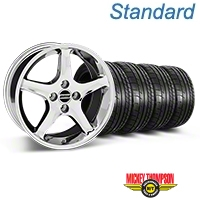 Chrome 1995 Style Cobra R Wheel & Mickey Thompson Tire Kit- 17x8 (87-93; Excludes 93 Cobra) - AmericanMuscle Wheels KIT||28312||79531