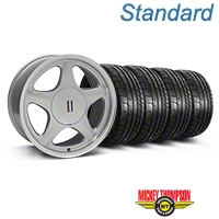 Silver w/Machined Lip Pony Style Wheel & Mickey Thompson Tire Kit- 17x8 (87-93; Excludes 93 Cobra) - AmericanMuscle Wheels KIT||99378||79531
