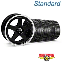 Black SC Style Wheel & Mickey Thompson Tire Kit- 17x8 (87-93; Excludes 93 Cobra) - AmericanMuscle Wheels KIT||10090||79531