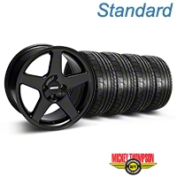 Black 2003 Style Cobra Wheel & Mickey Thompson Tire- 17x9 (87-93; Excludes 93 Cobra) - AmericanMuscle Wheels KIT||28125||79531