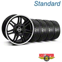 Black 10th Anniversary Cobra Style Wheel & Mickey Thompson Tire Kit- 17x9 (87-93; Excludes 93 Cobra) - AmericanMuscle Wheels KIT||32020||79531