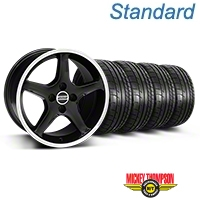 Black w/Machined Lip 1995 Style Cobra R Wheel & Mickey Thompson Tire Kit- 17x9 (87-93; Excludes 93 Cobra) - AmericanMuscle Wheels KIT||28378||79531