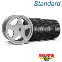 Silver w/Machined Lip Pony Style Wheel & Mickey Thompson Tire Kit- 17x9 (87-93; Excludes 93 Cobra) - AmericanMuscle Wheels KIT||99381||79531