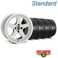 Silver SC Style Wheel & Mickey Thompson Tire Kit- 17x9 (87-93; Excludes 93 Cobra) - AmericanMuscle Wheels KIT||10092||79531