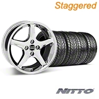 Staggered 1995 Cobra R Chrome Wheel & NITTO Tire Kit - 17x8/9 (87-93; Excludes 93 Cobra) - American Muscle Wheels 28011||28312||76000||76004||KIT
