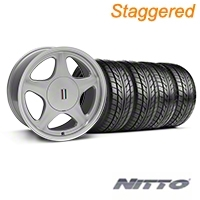 Silver w/Machined Lip Pony Style Wheel & NITTO Tire Kit- 17x8/9 (87-93; Excludes 93 Cobra) - AmericanMuscle Wheels KIT||99378||99381||76000||76004