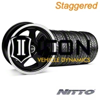 Staggered Black SC Style Wheel & NITTO Tire Kit- 17x8/10 (87-93; Excludes 93 Cobra) - AmericanMuscle Wheels KIT||10090||28367||76004||76000