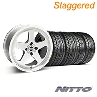 Staggered SC Silver Wheel & NITTO Tire Kit - 17x8/10 (87-93; Excludes 93 Cobra) - American Muscle Wheels 10091||28368||76000||76004||KIT
