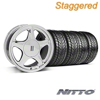 Staggered Chrome Pony Style Wheel & NITTO Tire Kit - 17x8/10 (87-93; Excludes 93 Cobra) - AmericanMuscle Wheels KIT||99379||99385||76000||76004