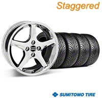 Staggered 1995 Cobra R Style Chrome Wheel & Sumitomo Tire Kit - 17x8/9 (87-93; Excludes 93 Cobra) - American Muscle Wheels 28011||28312||63001||63010||KIT