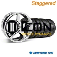 Staggered Chrome 1995 Style Cobra R Wheel & Sumitomo Tire Kit - 17x8/9 (87-93; Excludes 93 Cobra) - AmericanMuscle Wheels KIT||28312||28011||63010||63001
