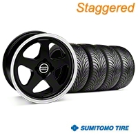 Staggered Black SC Style Wheel & Sumitomo Tire Kit - 17x8/10 (87-93; Excludes 93 Cobra) - AmericanMuscle Wheels KIT||10090||28367||63010||63001