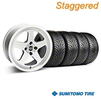 Staggered Silver SC Style Wheel & Sumitomo Tire Kit - 17x8/10 (87-93; Excludes 93 Cobra) - AmericanMuscle Wheels KIT||10091||28368||63010||63001