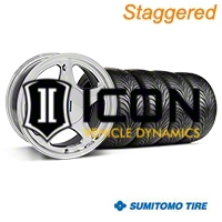 Staggered Chrome Pony Style Wheel & Sumitomo Tire Kit - 17x8/10(87-93; Excludes 93 Cobra) - AmericanMuscle Wheels KIT||99379||99385||63001||63010